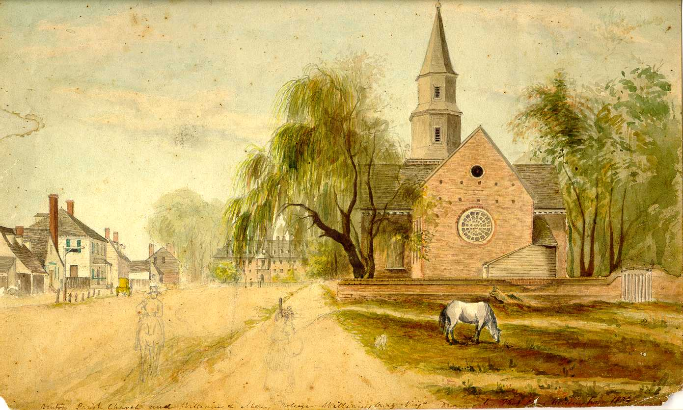 Bruton Parish Church watercolor by Thomas Millington copy