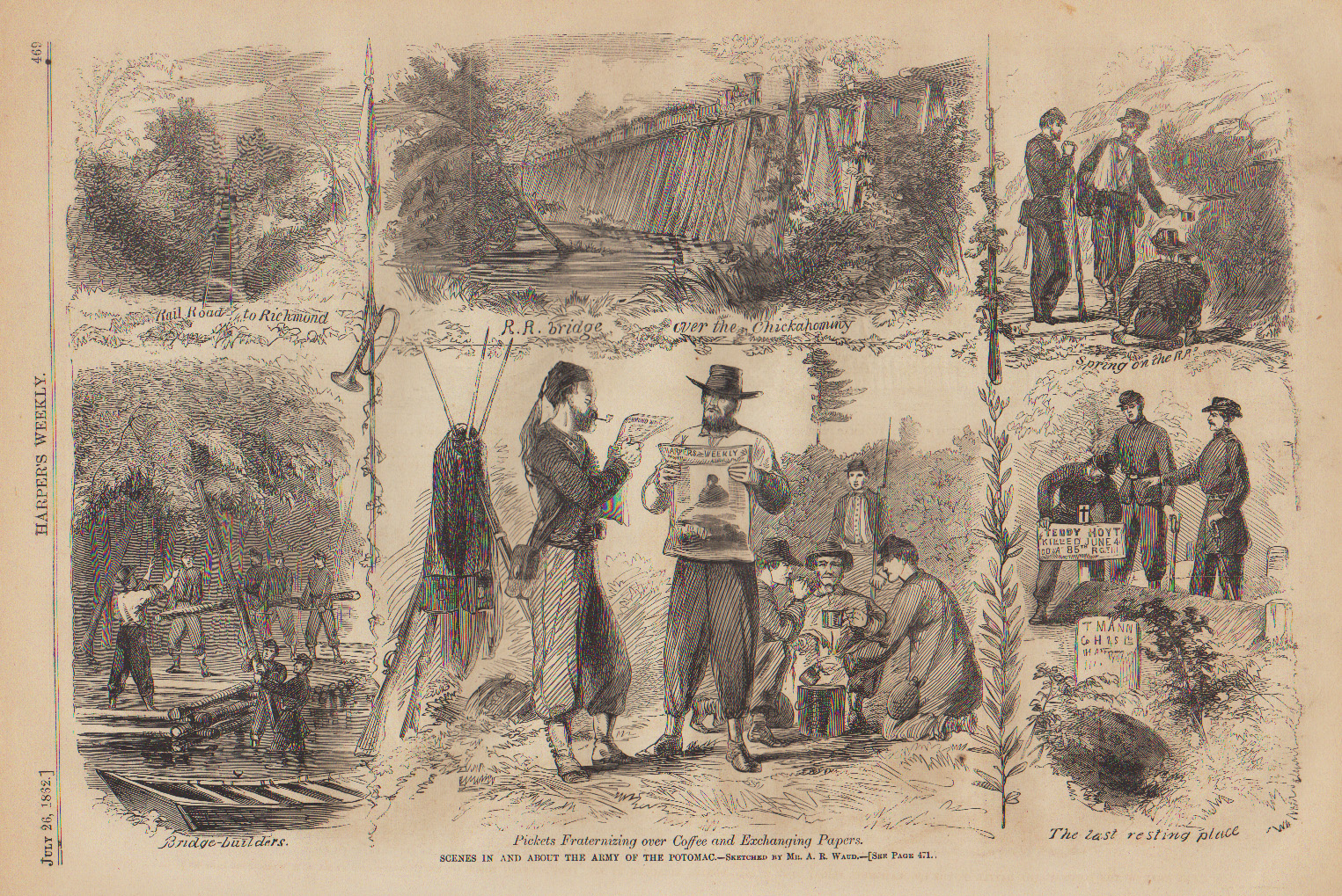 Chickahominy RR bridge, Waud, 1862, Harpers Weekly