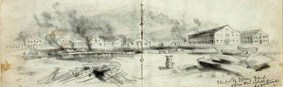 Waud-Destruction of Gosport 1862